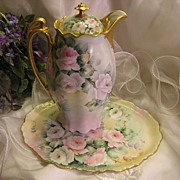 "SOLD ""GORGEOUS PINK & WHITE TEA ROSES"" Antique Limoges Vintage Heirloom Victorian La"