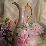 SOLD Stunning Unmarked Limoges Blank Romantic EWER ~ PITCHER ~ Rare Molding ~ Gorgeous Handle