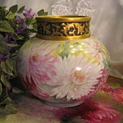 ~ Gorgeous Large Antique Limoges France Hand Painted Vase Rose Bowl ~ Superb Artistry Floral A