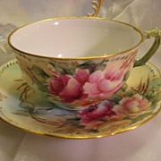 "SOLD Beautiful FRENCH ROSES TEA CUP & SAUCER"" ~  Antique France Limoges French Hand Paint"