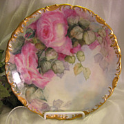 Stunning Hand Painted Roses VICTORIAN BOUQUET Floral Art Plate T&V Limoges French Gorgeous Roc