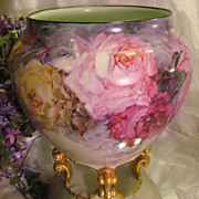 &quot;BREATHTAKING ROSES&quot; Massive and Rare Footed FRENCH JARDINIERE PLANTER POT Gorgeous 