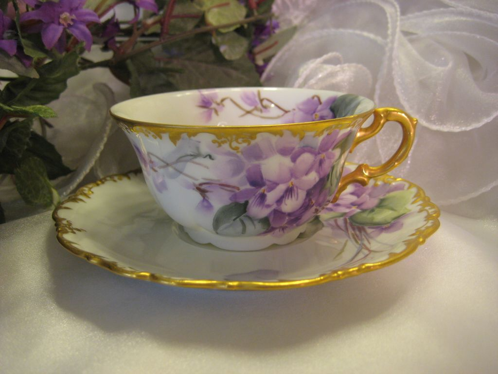 """FRENCH AFRICAN PURPLE VIOLETS TEA CUP & SAUCER"" Antique ..."