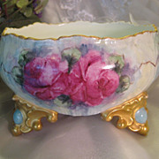 Absolutely Precious ~ Gorgeous Limoges France Antique French Roses Center Bowl Jardiniere ~ 