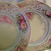 SOLD ~ Gorgeous Creme De La Creme Fine Porcelain Cabinet Plates ~ Breathtaking One-of-a-Kind H