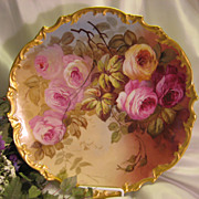 Exquisite Vintage Limoges French Antique Roses 13 1/4&quot; PLAQUE Hand Painted Victorian Flor