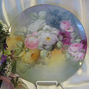"""BEAUTIFUL ROMANTIC SOFT ROSES"" Large 12-3/4"" Antique Porcelain Hand Painted Ro"