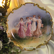 "SOLD Beautiful Vintage Limoges French Antique 12 1/2"" Art Wall PLAQUE or Charger Hand Pai"