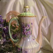 Beautiful &quot;AMETHYST VIOLETS&quot; 1900's Hand Painted Limoges France Demitasse CHOCOLATE 