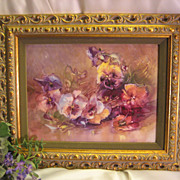 SOLD Breathtaking Limoges France Huge Hand Painted Framed Porcelain Plaque Pansies~  Masterpie