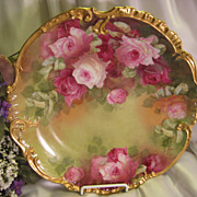 Stunning Antique Limoges France Hand Painted Victorian Roses Wall Plaque Charger Highly Collec