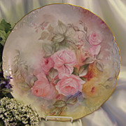 "BEAUTIFUL ROMANTIC SOFT ROSES"" Large 14"" Limoges Charger ~ Fine Antique Hand Painted"