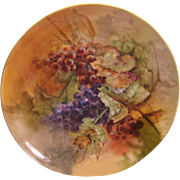 """LUSCIOUS GRAPES"" Large 16"" Antique Limoges France Charger Wall Plaque Hand Pai"