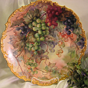 Breathtaking Antique Limoges France Hand Painted Still Life Masterpiece Luscious Grapes 15 5/8
