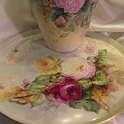 """STUNNING VICTORIAN ROSES"" Absolutely Gorgeous Large 18"" Antique Hand Painted L"