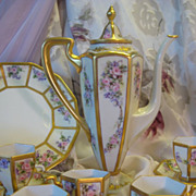 "Stunning Art Nouveau Antique Limoges France ""Finest Chocolate Set"" Matching Sweet Co"