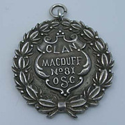 Edwardian Sterling Silver Clan Macduff Watch Fob Medal