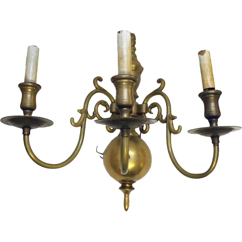 Colonial Brass Wall Sconces : Pair of Colonial revival style brass wall sconces from oldegoodthings on Ruby Lane