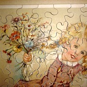 Vintage  Jig Saw Puzzle Swiss Child with Flowers 1940's