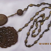 Vintage Carved Chocolate Jade Necklace