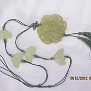 Apple Green Carved Serpentine Jade Necklace