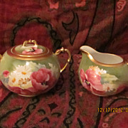 Limoges Hand Painted Poppy Cream & Sugar Set