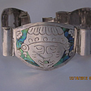 Heavy Sterling  Inlaid Mexico Bracelet 7.25""