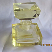 Cut Glass Yellow Perfume Bottle