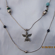 Vintage Sterling Charms  Zuni Necklace 48&quot;