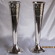Old Wilcox  Silver Plated Vases 12&quot;