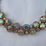 Unsigned Schiaparelli Aurora Borealis Necklace 16""
