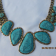 Huge Silver Plated Turquoise Necklace 20&quot;