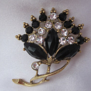 Vintage Black & Clear Crystal Brooch