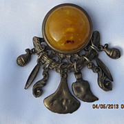Vintage Bronze Tone & Butterscotch Brooch