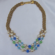Vintage Monet  3 Strand Necklace