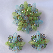 Blue & Green Glass Brooch & Earrings Set