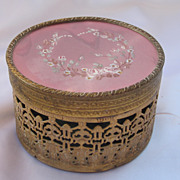 Old Brass Ormolu  Round Dresser Box