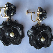 Vintage Black Rose & Pearls Earrings