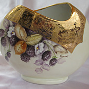 Signed Hand Painted Berries Vase