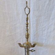 SOLD Antique 19th Century Adjustable Brass Whale Oil Lamp with Tools