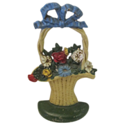 Cast Iron Flower Basket Doorstop John Wright (Hubley)