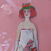Paper Doll Lady Ribbon Keepsake Hanky Birthday Card