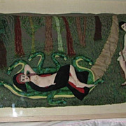 Quilted Folk Art Piper & Reclining Woman/Adam & Eve Picture