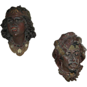 Pair of Vintage Arabic Wall Masks Man & Woman