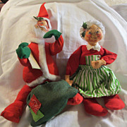 "Vintage 15"" large Annalee Santa & Mrs Claus Dolls"