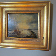 Old World Oil Painting of Schooner Ship tied to Breakwater Signed Nielson