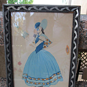 Signed Art Deco Lady Painted Pochoir Garden Style
