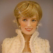 Princess Diana Doll White Pearl Dress by Franklin Mint