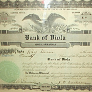 1928 Bank Of Viola Twenty Shares Capital Stock Certificte