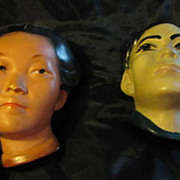 Vintage Pair Wall Heads Masks Composition Circa 1930's